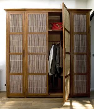 Large free standing teak and bamboo custom wardrobe wardrobes storage wardrobes for Armoire en rotin bambou