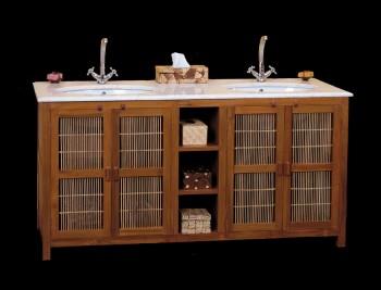 Meuble salle de bain teck bambou et marbre 158 meubles support de vasque - Meuble vasque bambou ...