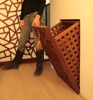 Bac linge basculant 39 ming 39 meuble linge meubles de - Meuble salle de bain panier a linge integre ...